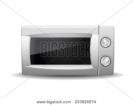 Microwave oven isolated on white background. Front view of white microwave. Modern, realistic vector illustration of home kitchen appliances.