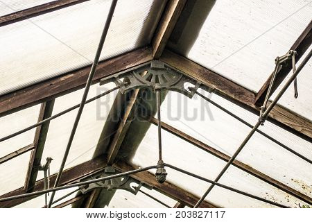 old roof support of a greenhouse rusty