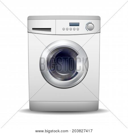 Washing machine isolated on white background. Front View of white steel washer. Modern, realistic vector illustration of home appliances