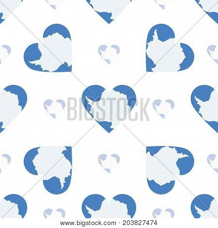 Antarctica Flag Heart Seamless Pattern. Patriotic Antarctica Flag Background. Country Flag In The Sh