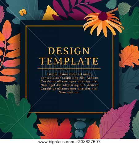 Template design square banner for fall season with white frame and herb. Promotion offer with autumnal oak plant, maple leave and flowers decoration.