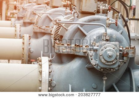 Water pumps on petrochemical plant, Cooling pump in factory