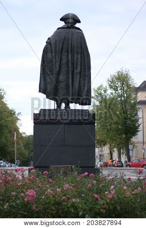 MAGDEBURG, GERMANY - September 12: Major General Friedrich Wilhelm von Steuben Statue from behind (Born: 9/17/1730 in Magdeburg, Died: 11/28/1794) Magdeburg is the sister city of Nashville, USA.