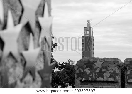 MGDEBURG, GERMANY - September 12, 2017:Silver stars with the Albin Müller tower in the Background. Magdeburg, Saxony-Anhalt. (Magdeburg is the sister City of Nashville, USA)