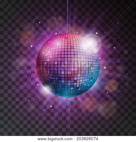 Vector shiny disco ball illustration on a transparent background