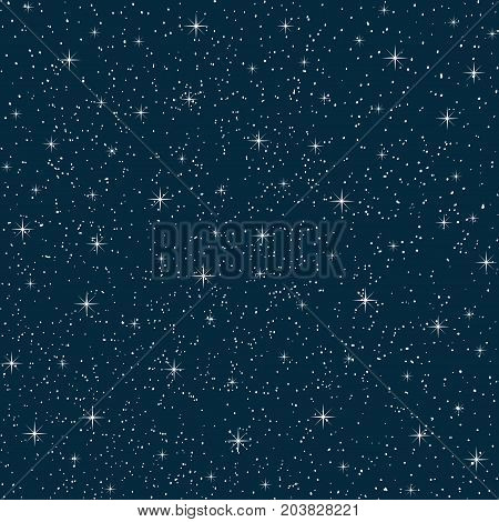 wonderful vector night sky with stars seamless pattern repeated vertically and horizontally. White stars on blue background.