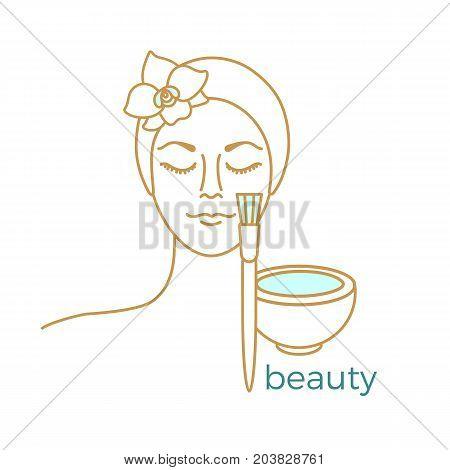 Cosmetology. Set of tools for youthful skin on white background. Vector illustration. Face mask brush. Symbol beauty. Art line eps. 10