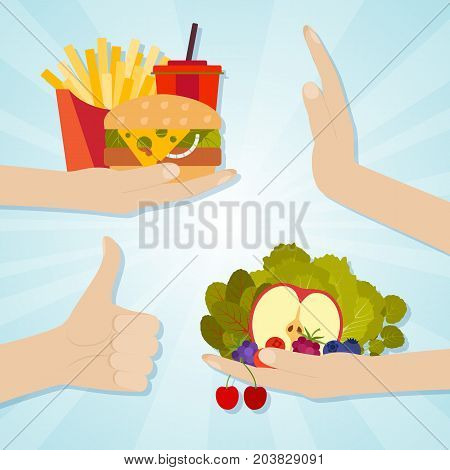 Hands giving junk and healthy eating. Food choice concept. Vector illustration.