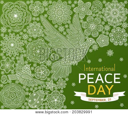 International Peace Day background with ornate birds and flowers. Vector illustration.