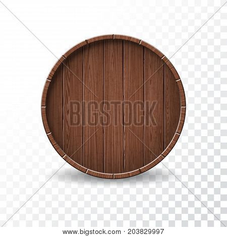 Vector illustration with isolated Wood Barrel on transparent background