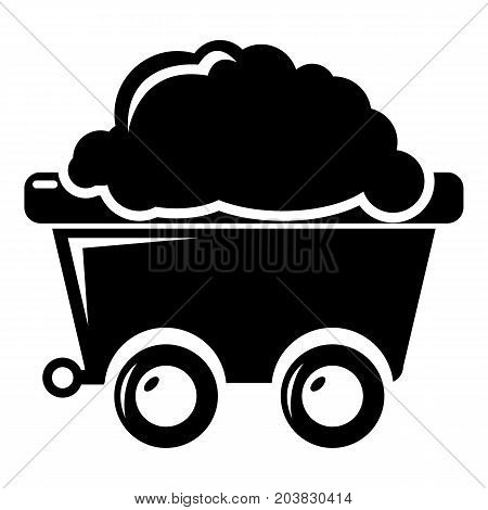 Mining cart icon . Simple illustration of mining cart vector icon for web design isolated on white background