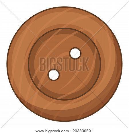 Wood cloth button icon. Cartoon illustration of wood cloth button vector icon for web