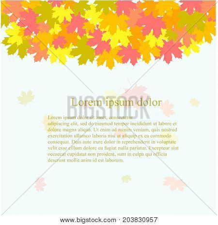 Background with yellow, green, orange, red maple leaves, fall, Lorem ipsum on light blue stock vector illustration