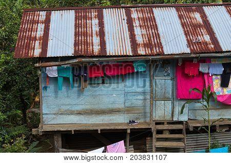 June 2 2017 Jondachi Ecuador: simple wood house in the jungle in the Amazon area