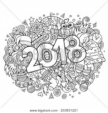 Cartoon vector cute doodles hand drawn 2018 year illustration. Sketchy picture with new year theme items.