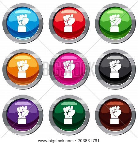 Raised up clenched male fist set icon isolated on white. 9 icon collection vector illustration