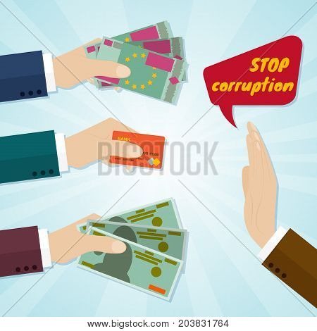 Hands giving card or money for bribe. Stop corruption concept. Vector illustration