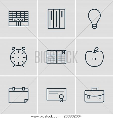 Editable Pack Of Portfolio, Bulb, Textbook And Other Elements.  Vector Illustration Of 9 Education Icons.