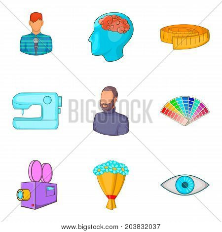 Color compatibility icons set. Cartoon set of 9 color compatibility vector icons for web isolated on white background