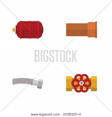 Flat Icon Plumbing Set Of Pump Valve, Container, Cast And Other Vector Objects