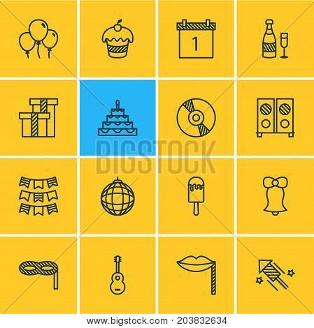 Editable Pack Of Carnaval Mask, Sundae, Fizz And Other Elements.  Vector Illustration Of 16 Banquet Icons.