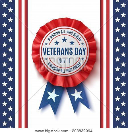 Veterans Day badge. Realistic, patriotic, blue and red label with ribbon, isolated on on abstract American flag background. Poster, brochure or greeting card template. Vector illustration.