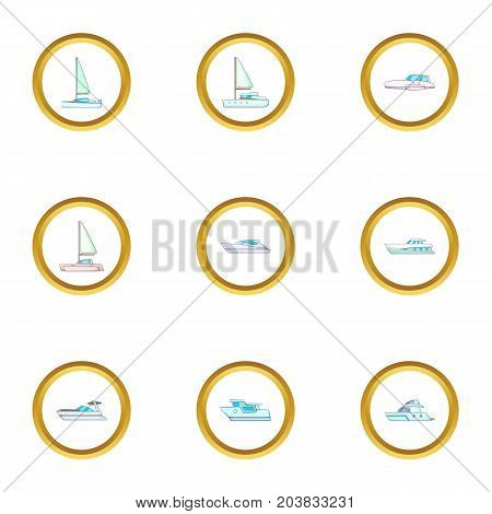 Types of sea boat icons set. Cartoon set of 9 types of sea boat vector icons for web isolated on white background