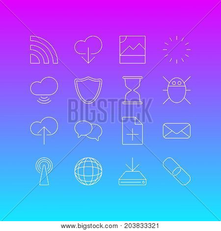 Editable Pack Of Photo, Wave, Information Load And Other Elements.  Vector Illustration Of 16 Network Icons.