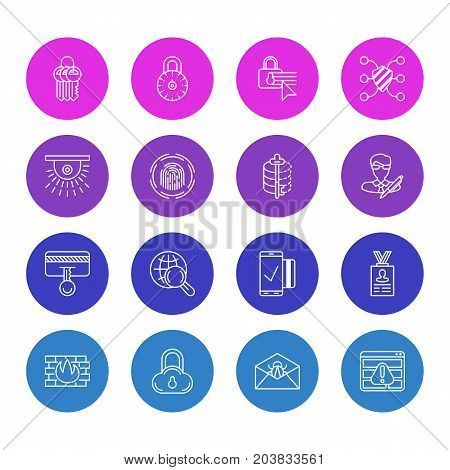 Editable Pack Of Account Data, Corrupted Mail, Key Collection And Other Elements.  Vector Illustration Of 16 Privacy Icons.