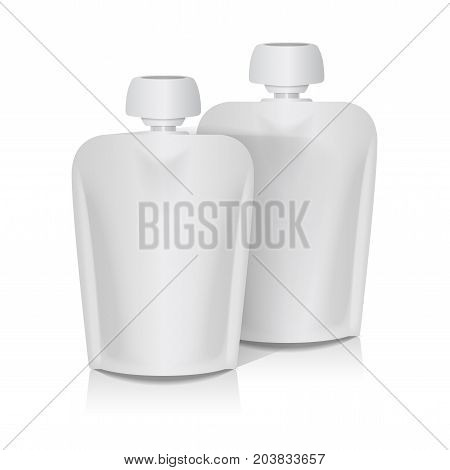 Set of White Blank Flexible Pouch With Big Top Cap For Baby Puree. Food Or Drink Bag Packaging Template for your design