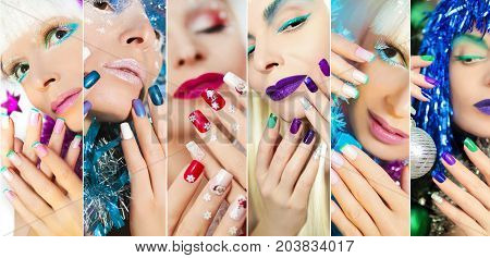 Winter holiday make-up design on the nails on the girl in various fashionable and creative manner.