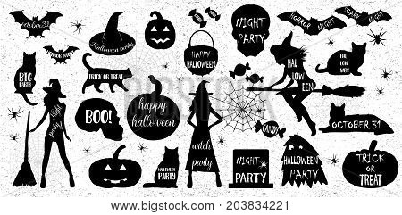 Halloween Silhouettes. Witch pumpkin black cat.Halloween party. Spider sticker. Trick or treat Vector icons