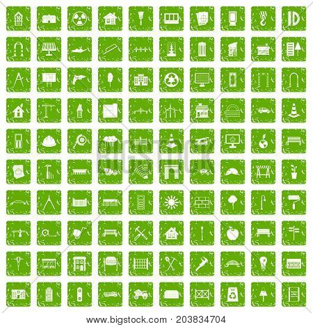 100 architecture icons set in grunge style green color isolated on white background vector illustration
