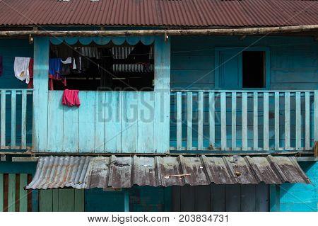 June 2 2017 Jondachi Ecuador: colorful wood house closeup detail in the jungle in the Amazon area