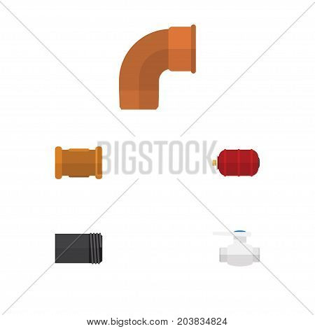 Flat Icon Industry Set Of Container, Iron, Pipe And Other Vector Objects