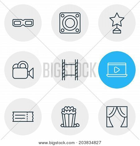 Editable Pack Of Snack, Loudspeaker, Spectacles And Other Elements.  Vector Illustration Of 9 Movie Icons.
