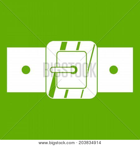 Square belt buckle icon white isolated on green background. Vector illustration