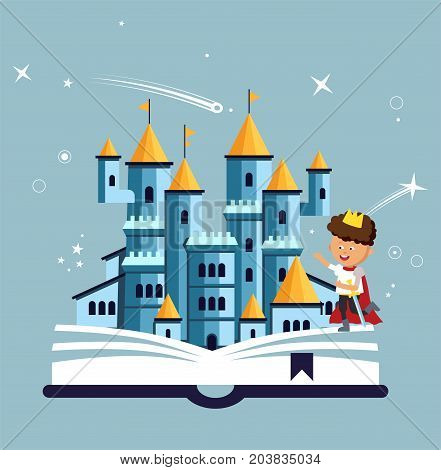 Imagination concept with opened book pink castle and cute little brave prince. Fairy, magical adventure book for kids.