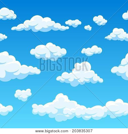 Cloud seamless vector background. Endless cartoon cloudscape. Seamless background cloud and blue sky illustration