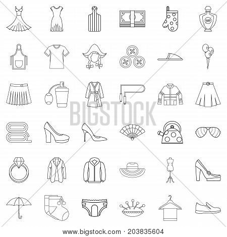 Underpants icons set. Outline style of 36 underpants vector icons for web isolated on white background