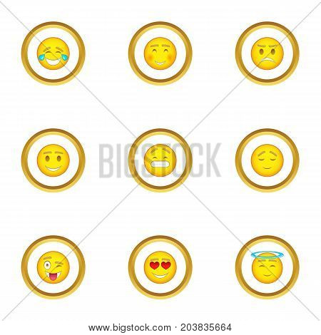 People emoticons icons set. Cartoon set of 9 people emoticons vector icons for web isolated on white background