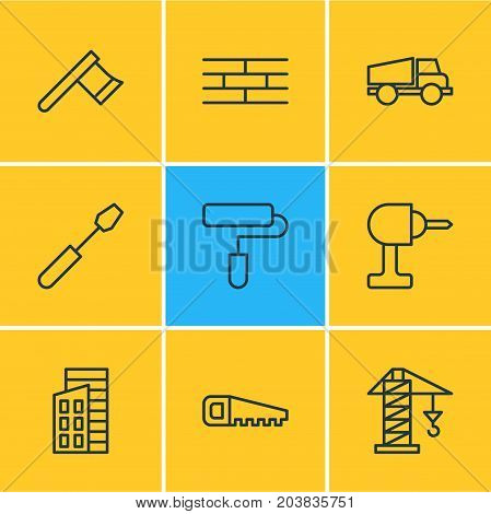 Editable Pack Of Lifting, Roller, Barrier And Other Elements.  Vector Illustration Of 9 Industry Icons.