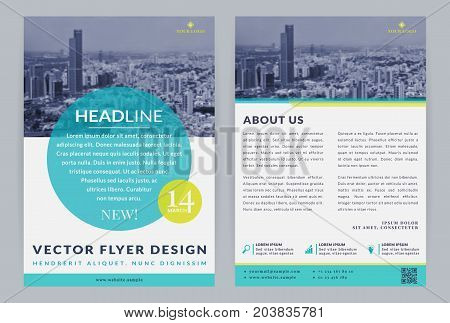 Business flyer templates. Vector design with city background or space for your photo. Corporate leaflet or brochure cover.