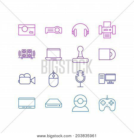 Editable Pack Of Computer, Loudspeaker, Video Chat And Other Elements.  Vector Illustration Of 16 Hardware Icons.