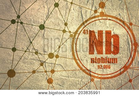 Niobium chemical element. Sign with atomic number and atomic weight. Chemical element of periodic table. Molecule And Communication Background. Connected lines with dots. Grunge distress texture.