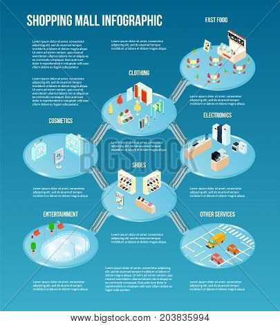 Isometric shopping mall infographic with fast food clothing shoes electronics entertainments malls vector illustration