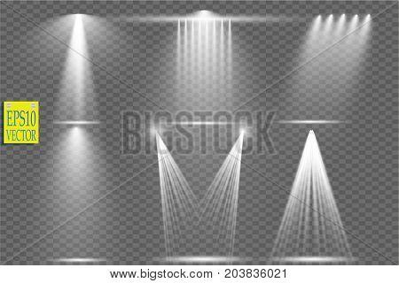 Vector light sources, concert lighting, stage spotlights set. Concert spotlight with beam, illuminated spotlights for web design illustration. Vector
