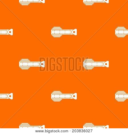 Measuring centimeter pattern repeat seamless in orange color for any design. Vector geometric illustration