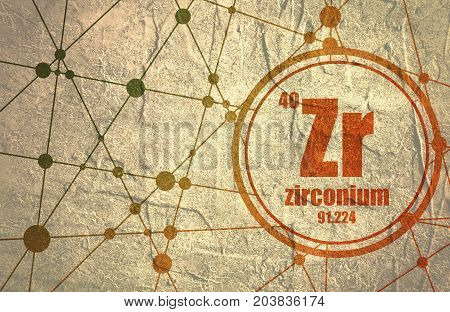 Zirconium chemical element. Sign with atomic number and atomic weight. Chemical element of periodic table. Molecule And Communication Background. Connected lines with dots. Grunge distress texture.