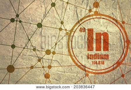 Indium chemical element. Sign with atomic number and atomic weight. Chemical element of periodic table. Molecule And Communication Background. Connected lines with dots. Grunge distress texture.